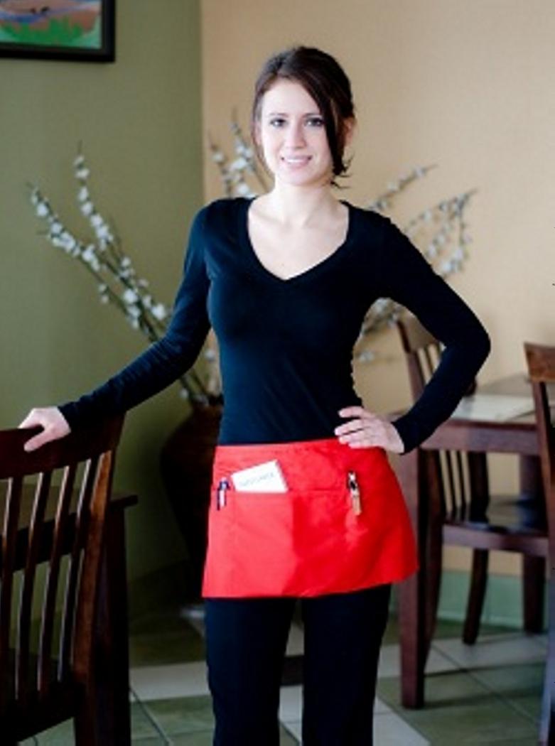White half apron with pockets - Economy Three Pocket Waist Aprons